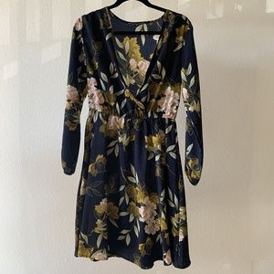 Dresses & Skirts - Japanese Floral / Navy Faux Wrap Dress